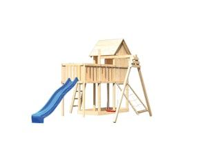 Akubi Stelzenhaus Frieda mit Wellenrutsche, Einzelschaukelanbau, Anbauplattform und Netzrampe
