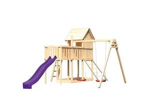 Akubi Stelzenhaus Frieda mit Wellenrutsche, Doppelschaukelanbau, Anbauplattform und Netzrampe