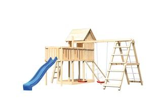 Akubi Stelzenhaus Frieda mit Wellenrutsche, Doppelschaukelanbau, Klettergerüst, Anbauplattform und Netzrampe