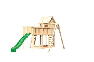 Akubi Stelzenhaus Frieda mit Wellenrutsche, Einzelschaukelanbau, Anbauplattform XL und Kletterwand