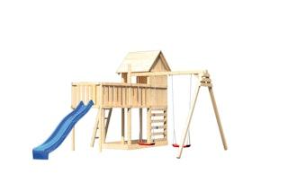 Akubi Stelzenhaus Frieda mit Wellenrutsche, Doppelschaukelanbau, Anbauplattform XL und Kletterwand