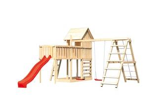 Akubi Stelzenhaus Frieda mit Wellenrutsche, Doppelschaukelanbau, Klettergerüst, Anbauplattform XL und Kletterwand