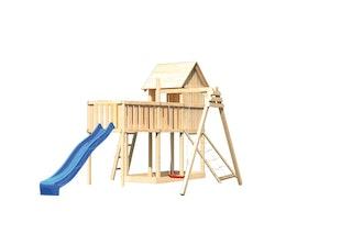 Akubi Stelzenhaus Frieda mit Wellenrutsche, Einzelschaukelanbau, Anbauplattform XL und Netzrampe