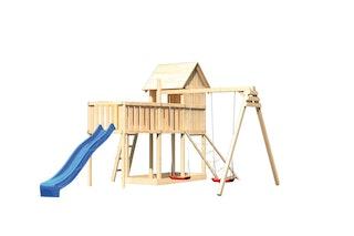 Akubi Stelzenhaus Frieda mit Wellenrutsche, Doppelschaukelanbau, Anbauplattform XL und Netzrampe