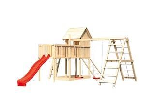 Akubi Stelzenhaus Frieda mit Wellenrutsche, Doppelschaukelanbau, Klettergerüst, Anbauplattform XL und Netzrampe