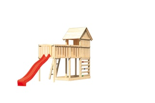 Akubi Stelzenhaus Frieda mit Wellenrutsche, Anbauplattform XL und Kletterwand