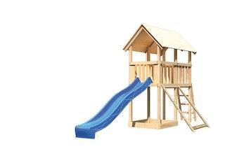 Akubi Kinderspielturm Danny mit Wellenrutsche und Netzrampe