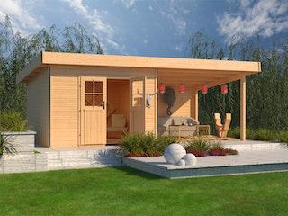 Karibu Premium Gartenhaus Moosburg 3 mit 300 cm Schleppdach und Rückwand - Türversion Classic