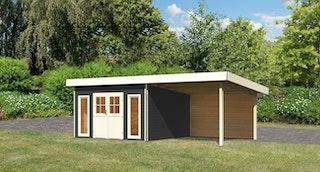 Karibu Premium Gartenhaus Tecklenburg 1/2 mit 300 cm Schleppdach und Rückwand - Türversion Classic