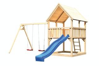 Akubi Kinderspielturm Luis inkl. Wellenrutsche und Doppelschaukelanbau (Set B)