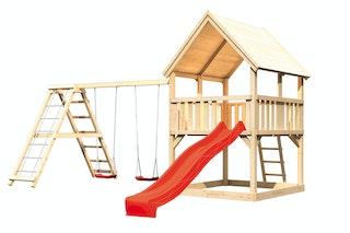 Akubi Kinderspielturm Luis inkl. Wellenrutsche und Doppelschaukelanbau mit Klettergerüst (Set C)