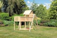 Akubi Stelzenhaus Frieda mit Einzelschaukelanbau, Anbauplattform XL und Netzrampe