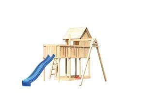 Akubi Stelzenhaus Frieda mit Wellenrutsche, Einzelschaukelanbau und Anbauplattform