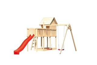 Akubi Stelzenhaus Frieda mit Wellenrutsche, Doppelschaukelanbau und Anbauplattform