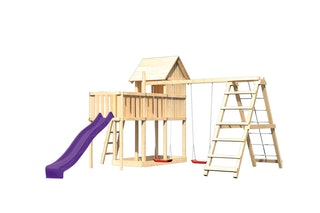 Akubi Stelzenhaus Frieda mit Wellenrutsche, Doppelschaukelanbau, Klettergerüst und Anbauplattform