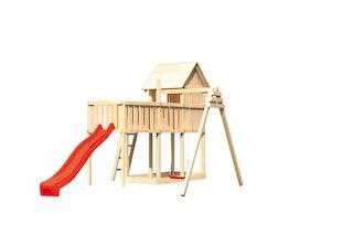 Akubi Stelzenhaus Frieda mit Wellenrutsche, Einzelschaukelanbau und Anbauplattform XL