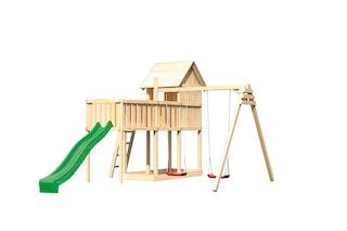 Akubi Stelzenhaus Frieda mit Wellenrutsche, Doppelschaukelanbau und Anbauplattform XL