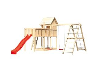 Akubi Stelzenhaus Frieda mit Wellenrutsche, Doppelschaukelanbau, Klettergerüst und Anbauplattform XL