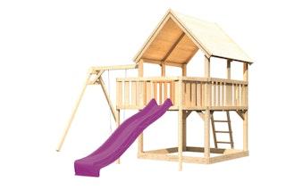 Akubi Kinderspielturm Luis mit Einzelschaukel, Anbauplattform und Wellenrutsche