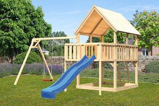 Akubi Kinderspielturm Luis mit Doppelschaukel, Anbauplattform und Wellenrutsche