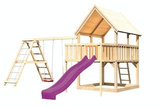 Akubi Kinderspielturm Luis mit Doppelschaukelgerüst, Anbauplattform und Wellenrutsche
