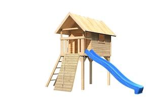 Akubi Stelzenhaus Gernegroß mit Rutsche und Holzrampe