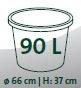 Maße Wasserbehälter (Ø/H): 66x37 cm (90 Liter)