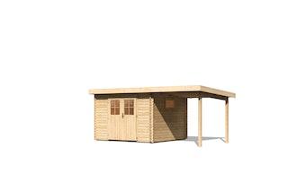 Karibu Premium Gartenhaus Torgau 3/4/5 mit 200 cm Anbaudach - 40 mm