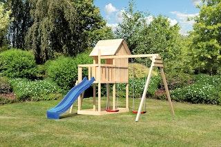 Akubi Kinderspielturm Frieda mit Anbau, Rutsche und Doppelschaukelanbau (Set B)