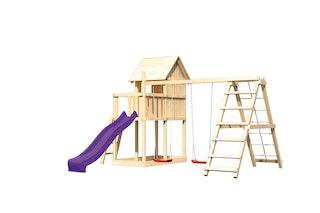 Akubi Kinderspielturm Frieda mit Anbau, Rutsche und Doppelschaukelanbau mit Klettergerüst (Set C)