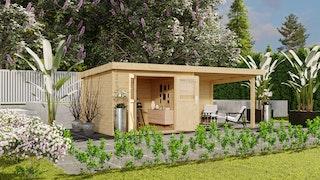Karibu Premium Gartenhaus Torgau 3/4/5 mit 200 cm Anbaudach + Rückwand - 40 mm