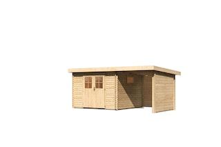Karibu Premium Gartenhaus Torgau 3/4/5 mit 200 cm Anbaudach + Rück- und Seitenwand - 40 mm