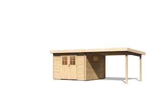 Karibu Premium Gartenhaus Torgau 3/4/5 mit 300 cm Anbaudach - 40 mm