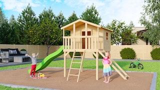 Akubi Kinderspielhaus Kinderspielgerät Benjamin inkl. Wellenrutsche und Netzrampe (Set B)