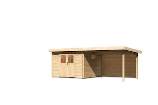 Karibu Premium Gartenhaus Torgau 3/4/5 mit 300 cm Anbaudach + Rückwand - 40 mm