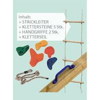 Akubi Kletterset inkl. Strickleiter, Klettersteine, Handgriffe (2 Stück), Kletterseil