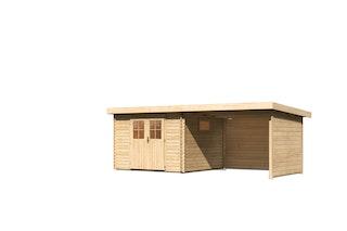 Karibu Premium Gartenhaus Torgau 3/4/5 mit 300 cm Anbaudach, Seiten- und Rückwand - 40 mm