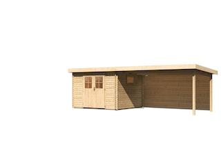 Karibu Premium Gartenhaus Torgau 3/4/5 mit 400 cm Anbaudach + Rückwand - 40 mm