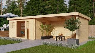 Karibu Premium Gartenhaus Torgau 3/4/5 mit 400 cm Anbaudach, Seiten- und Rückwand - 40 mm
