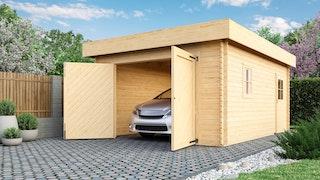 Karibu Flachdach Garage mit Tor - 28 mm