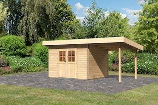 Karibu Premium Gartenhaus Moosburg 2 mit 230 cm Anbaudach