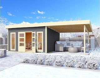 Karibu Woodfeeling Gartenhaus Northeim 5 inkl. 300 cm Schleppdach/Seiten- und Rückwand