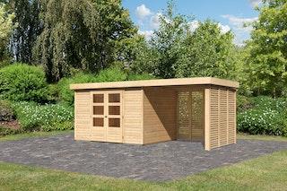 Karibu Woodfeeling Gartenhaus Askola 2/3/3,5/4/5 m. 240 cm Schleppdach/Seiten- und Rückwand in Lamellenoptik