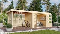 Karibu Woodfeeling Gartenhaus Askola 2/3/3,5/4/5 m. 275 cm Schleppdach/Seiten- und Rückwand in Lamellenoptik