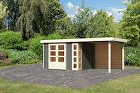 Karibu Woodfeeling Gartenhaus Kerko 3/4/5 mit 240 cm Schleppdach inkl. Rückwand - 19 mm