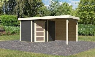Karibu Woodfeeling Gartenhaus Schwandorf 3/5 inkl. 240 cm Schleppdach mit Rückwand - 19 mm
