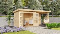 Karibu Woodfeeling Gartenhaus Kandern 6/7 mit 240 cm Schleppdach + Rückwand