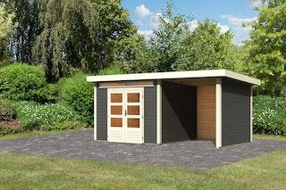 Karibu Woodfeeling Gartenhaus Kandern 3/6/7 mit 240 cm Schleppdach/Seiten- und Rückwand