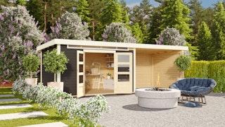 Karibu Woodfeeling Gartenhaus Kandern 6/6,5/7 mit 300 cm Schleppdach + Rückwand