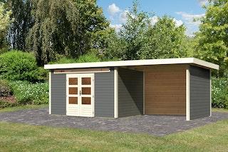 Karibu Woodfeeling Gartenhaus Kandern 3/6/7 mit 300 cm Schleppdach/Seiten- und Rückwand